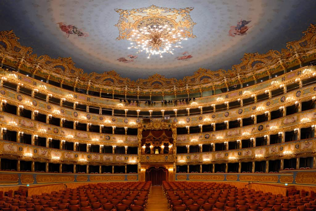 La Fenice Opera House Theatre, interior and galleries. Sestiere of San Marco