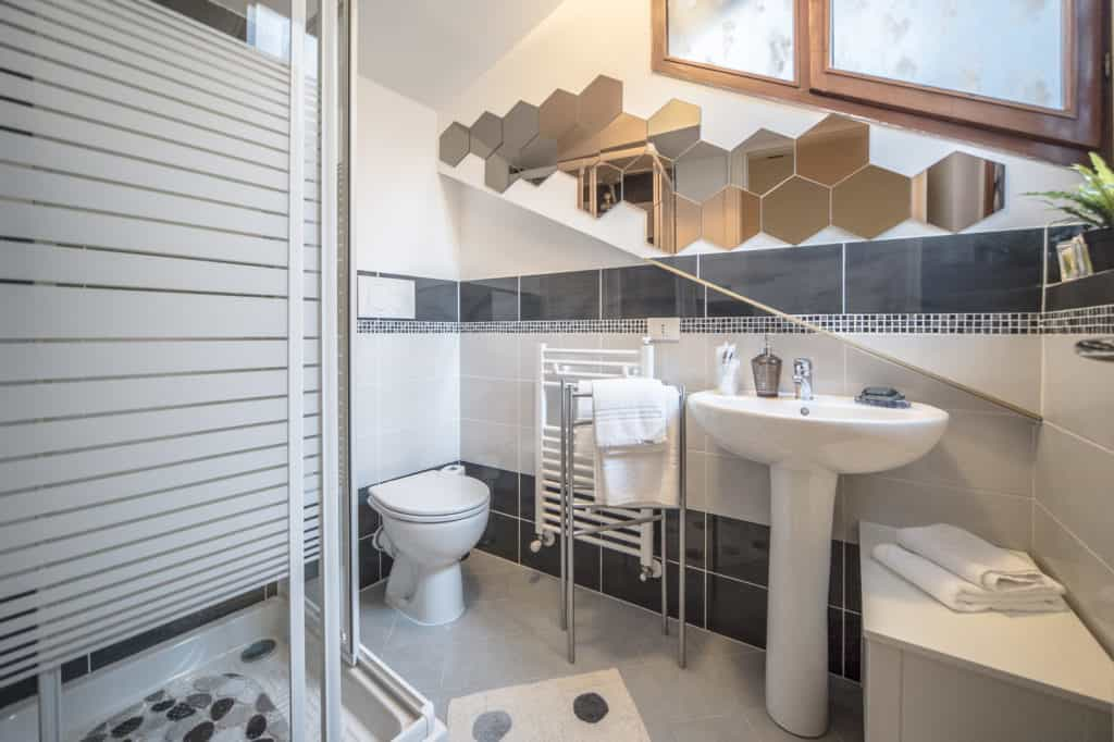 Left view of the small bathroom with shower - Ca' Alba Apartment