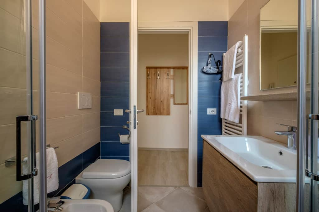 Entrance door of the small bathroom with large shower - Casa Luminosa Apartment