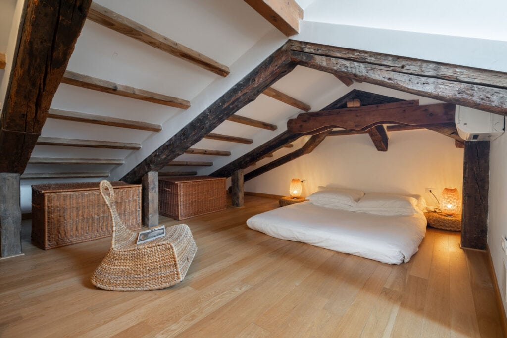 attic with double bed front view - Lions 4 Apartment