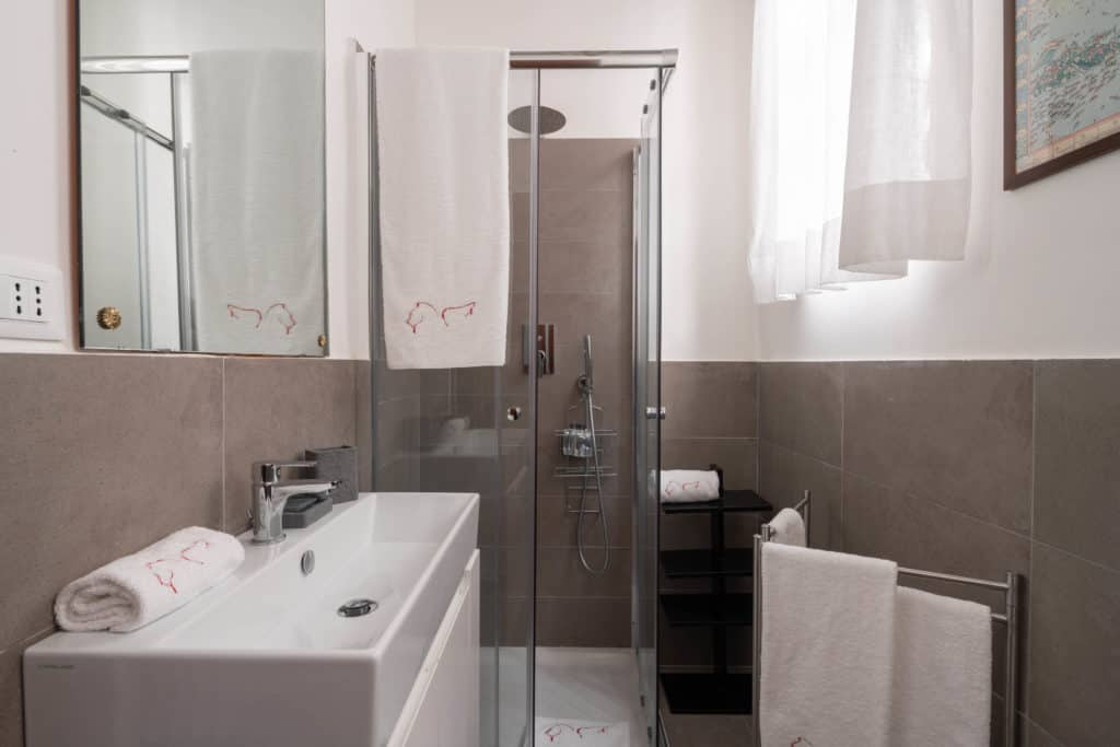 Small bathroom with shower and modern furnishing - Accademia 2 Apartment
